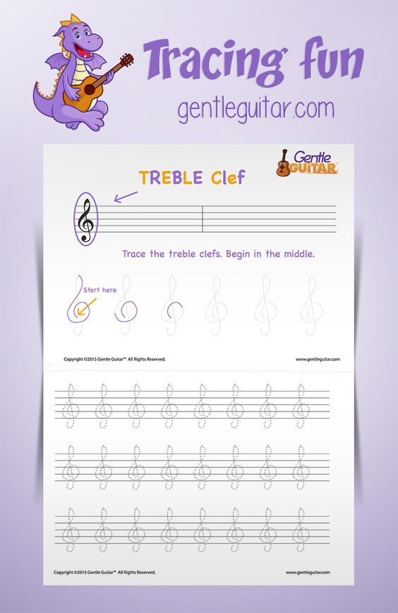Treble Clef Tracing Worksheet for Kids